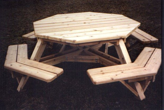 building plans octagon picnic table